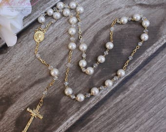 FAST SHIPPING!! Beautiful Gold Rosary with Pearls, Wedding Rosary, Communion Rosary, Christening Rosary, Confirmation Rosary, Rosary Gift