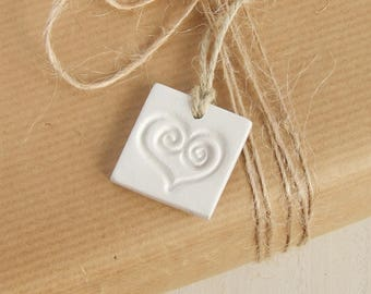 3 Heart Gift Tags, Party Favours, White Clay Ornament, Heart Ornament, Heart Memento, Keepsake Hanging Decoration, Handmade gifts Set