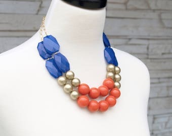 Layer Statement Necklace - Royal Blue Gold and Orange Beaded Necklace - Wedding Bridesmaids Necklaces - Bold Chunky Necklaces - Gift Wrapped
