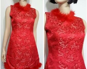 Chinese dress, S, M, avant garde dress, red dress, cheongsam dress, feather dress, formal dress, short dress