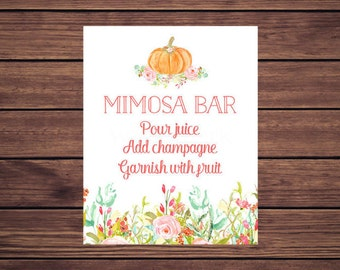 Pumpkin Mimosa Bar Sign, Mimosa Sign, Pink Floral Fall Autumn Instant Download Printable 117