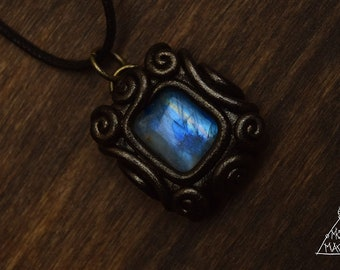 Tiny Square Moonstone Necklace