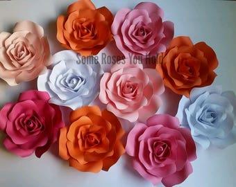 Paper Flowers Wall Decor,10pc Paper Flowers Set,Paper Flower Backdrop,Baby Shower Backdrop,Paper Roses,Party,Wedding,Nursery Wall Art,Pink,