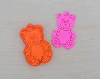 Girl Teddy Bear Cookie Cutter and Stamp Set