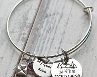 I Love You to the Mountains and Back Wire Adjustable Bangle Bracelet