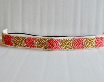 Coral and Gold Beaded Rhinestone Headband, tribal headband, hippie headband, bohemian headband, women headband, headband