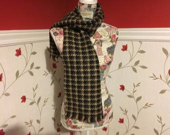 Brown Check Wide Scarf- Mens scarf - Womans - 100% wool - Soft - Unisex scarf