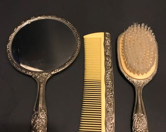 Vintage 3 Piece Set Mirror with Comb and Brush Vanity Set Silver Plated Nursery Decor Shabby Chic Boudoir Dresser Set Photo Prop