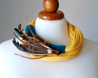 Tropical Jewelry Statement Necklace Bib Necklace Tropical Necklace Feathers Necklace Bold Chunky Necklace Multi Strand Necklace Yellow Jewel