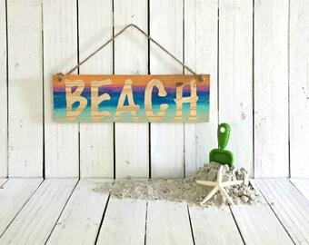 Beach House Decor, Wood Coastal Decor, Bohemian Beach Sign, Coastal Patio Decor, Garden Sign, Beach Yard Art, Surf Art, Hippie Decor