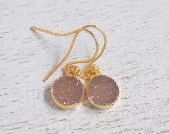 Druzy Earrings, Natural Druzy Earrings, Brown Drusy Earrings, Gemstone Earrings, Natural Stone Earrings, Drussy, Gold Earrings, Gift, R2-61