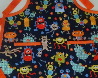Boys Monster Apron with Pockets Boys Kitchen Apron Toddler