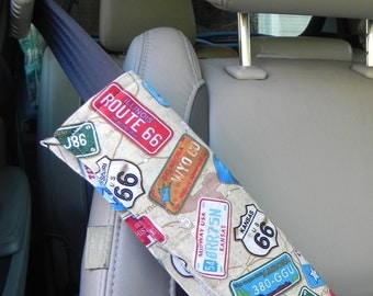 Seat Belt Medical, Seat Belt Cover, Mastectomy Gift, Washable Soft Port Cushion, Route 66, RV Retirement Gift, Strap Cover for Car Post-Op