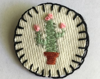 Handmade Embroidered Cactus Merit Badge Pin