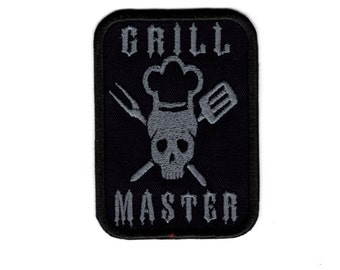 Chef Skull Grill Master BBQ Master Iron/Sew on Patch
