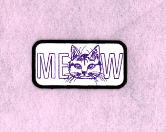 Meow cat face Patch Iron to Sew on Badge