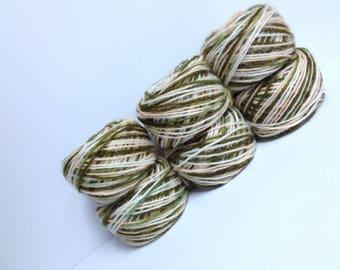 Vintage Eatons Yarn Destash Knitting Worsted Yarn Skeins Variegated Nylon Acrylic Yarn Olive Leaf Green Cream Thick Camo Yarn 6 Skein Bundle