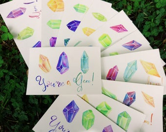 You're a Gem! Thank you card, Watercolor painting, Postcards for friends, Gems, Gemstones