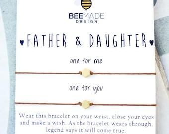 Father Daughter Wish Bracelets for 2 Christmas Gifts for dad from Daughter Gift Dad Gift for Dad matching bracelets stocking stuffer for dad