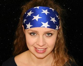 Wonder Woman Headband - Royal Blue Headband - White Star Headband - Sport Headband - Yoga Headband - Workout Headband - Spandex Headband