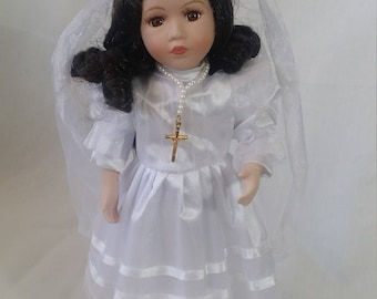 Christian Catholic Christening Girl Doll ~ Communion, Baptism, Commitment Ceremony Doll ~ 12 Inch Comes with Stand
