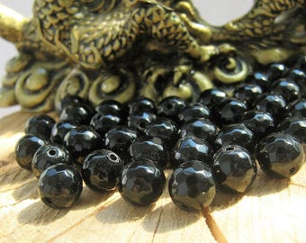 20 faceted Onyx beads, black Onyx gemstone beads, mala beads in bulk, loose beads, 8mm 10mm beads, natural stone beads