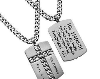 "Chain Cross ""His Strength"""