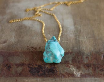 Raw Turquoise Necklace, December Birthstone, Real Turquoise Jewelry, Arizona Turquoise Jewellery, Rough Stone Necklace, Birthstone Jewelry