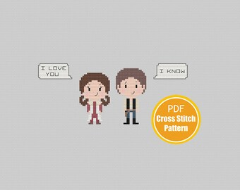 Star Wars Cross stitch - Han Solo Leia - PDF Instant Download -I Love You I Know Cross-stitch - Cross stitch Pattern