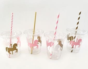Carousel Cups - Carousel Horse Birthday - Carousel Cups - Pastel Party Supplies - Carousel Party - Pink and Gold Carousel Horse Baby Shower