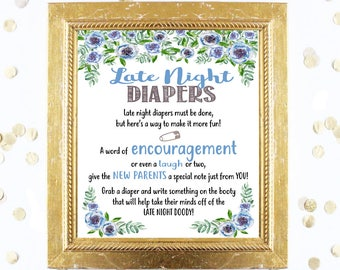 Baby Shower Game - LATE NIGHT DIAPERS - Blue Jean Blues - Instant Printable Digital Download Baby Boy Shower Chic Pretty Floral Diaper Game