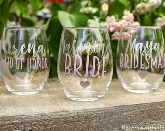 4 Custom wine glasses, personalized cups, bridal shower gift, wedding cup, wedding favors, summer wedding, tropical wedding, anchor cups