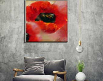 Abstract Wall Art Flower, Poppy Art Print, Painting Flowers, Floral Artwork, Red Wall Art, Art Painting, Red Painting, Wall Hanging,