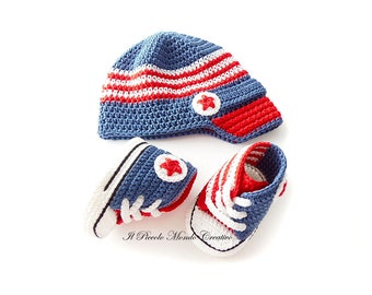 Baby Boy Set, Crochet Baby Set, Baby Hat and Baby Sneakers, Boys'Booties and Cap, Boys'Shoes and Hat, Baby Boy Prop Set