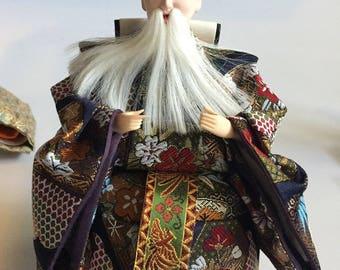 Authentic JAPANESE HINA DOLL Silk Brocade Mid 20th Century