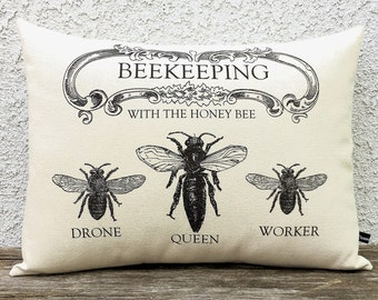 Beekeeping pillow cover three honey bees 12x16 canvas farmhouse cottage cushion #204 FlossieandRay