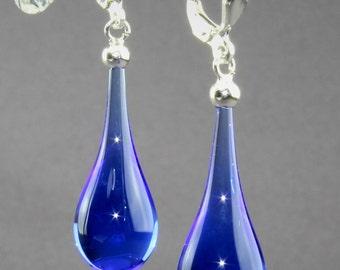 Earrings drop / Brisur 925/000 Silver rhodium plated, blue