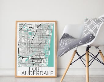 Fort Lauderdale Poster / For Lauderdale Print / Fort Lauderdale Map  / Florida Map Print / Fort Lauderdale Florida  / Wall Art
