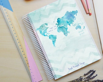 Travel Mint - A5 student weekly planner | watercolor map agenda 2017/2018 - school year agenda