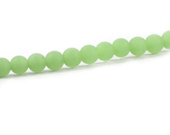 Recycled Cultured Sea Glass Round Beads Seafoam Pale Green 6mm
