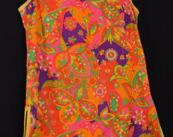 Psychedelic,Summer Dress,NeonTunic,Bright Flowers, Wild Tunic,Sleevless Tops,Festival Clothing,Funky Tunics,Mod Mini Dress,Abstract,Loud,Mod