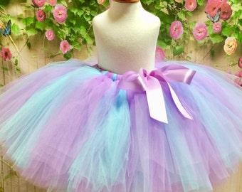 Adult Tutu, Bridesmaid Tutu, Birthday Tutu, Prom Tutu, Adult Tulle Skirt, Adult Lavender Aqua Tutu, Sewn Tutu, Sewn Tulle Skirt, Teen Tutu