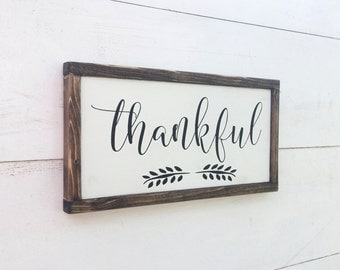 Wooden THANKFUL Sign with Flourish, White with Black Lettering and Wood Frame, Primitive Rustic Country, Vintage Farmhouse Decor, Solid Wood