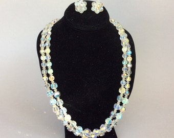Beautiful Clear Aurora Borealis Crystal Necklace and Clip Earring Set