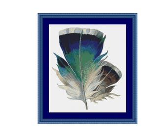 Blue Feather Counted Cross Stitch Pattern / Chart,  Instant Digital Download   (AP090)