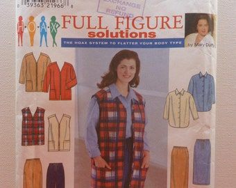 Sewing Pattern for Women Simplicity 8266  Full Figure Ladies Jacket Vest, Shirt, Skirt and Pants Size 18W-24W 90s Style