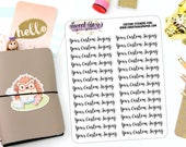 Custom Typography Planner Stickers - Script Planner Stickers - Lettering Planner Stickers - Work Planner Stickers - Fits Most Planners