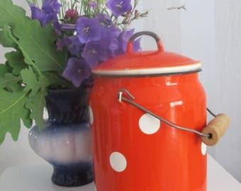 SALE15 % Enamel Orange Polka Dot Milk Can, Soviet Enamelware, Milk Container with Lid,  Rustic Home Decor, Farmhouse, Cottage Chic