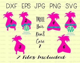 TROLLS SVG POPPY, Trolls Birthday, Digital Cut File, Poppy svg, Troll Hair Don't Care, Poppy clipart, Instant Download dxf eps jpg png svg