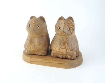 Wood Carving Tanuki, Couple of Tanuki, Racoon Dog
